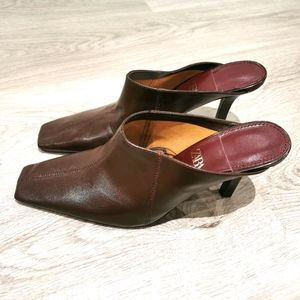 New Zara leather mules shoes heels sandals